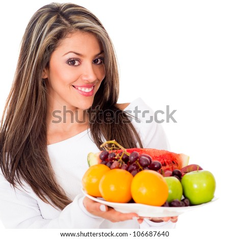 Healthy woman on a fruit based diet - isolated over white background