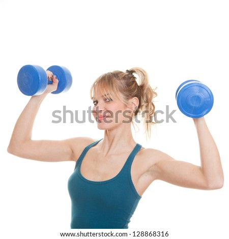 healthy woman working out with weights