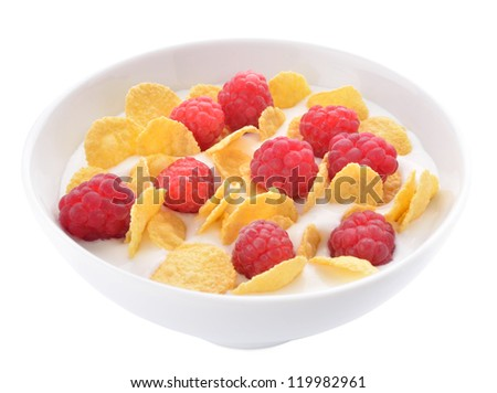 Healthy yogurt with corn flakes and raspberries served in a bowl