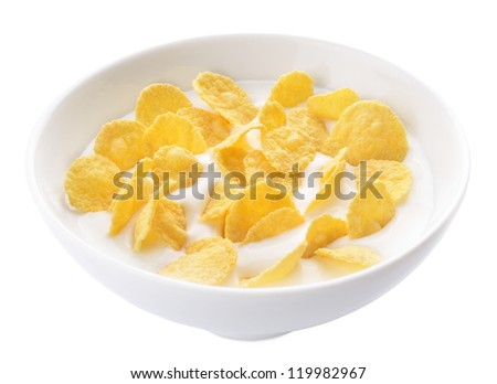 Healthy yogurt with corn flakes served in a bowl