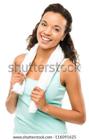 Healthy young mixed race woman exercising isolated on white background