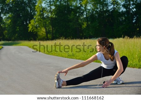 healthy young woman stretching before Fitness and Exercise