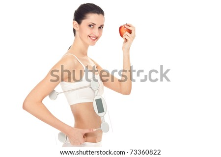 healthy young woman with a weight scale, isolated over white background