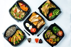 Healty and diet food on white plate. Vegetarian food.