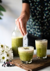 Healty drink with green vegetables