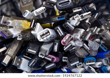 Heap a Lot Of USB (Universal Serial Bus)  cables Connectors plugs universal standart for computer different types cables and Ports peripheral Stock photo ©