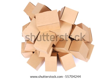Heap brown cardboard boxes on white background