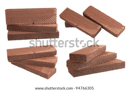 Heap chocolate wafer isolated on white background