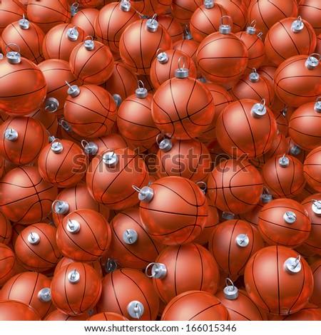 Heap, cluster, pool of orange basketball christmas balls, baubles, 3d rendering