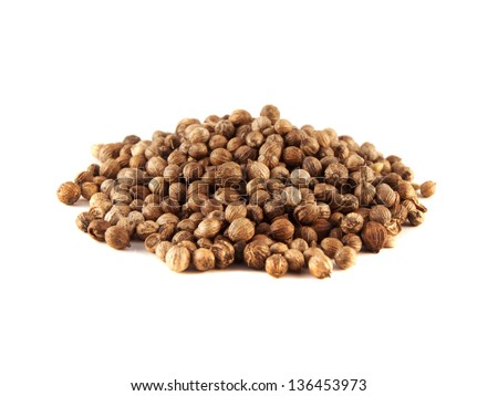 Heap Coriander Seeds isolated on white background