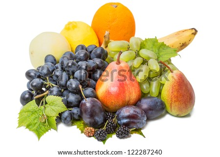 Heap different fruits: grape, pear, banana, orange, lemon, apple, plum, blackberry