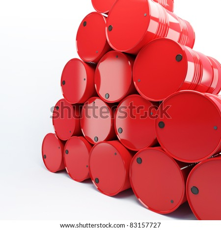 heap from barrels with oil on a white background