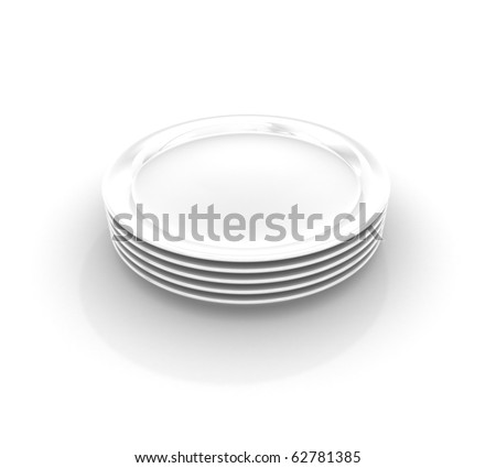 Heap from five white plates on white background