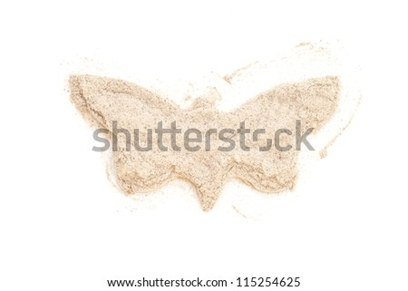 Heap ground White Pepper isolated in butterfly shape on white background. Used as a spice in cuisines all over the world.