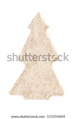Heap ground White Pepper isolated in christmas tree shape on white background. Used as a spice in cuisines all over the world.