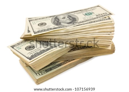 heap of a dollar banknotes on a white background