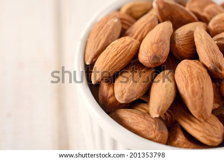 Heap of almonds in the bowl and blank space on the left side.Selective focus on the left almonds