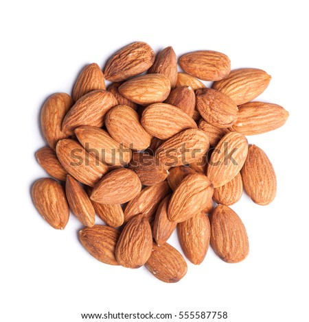 Heap of almonds isolated on white background #555587758