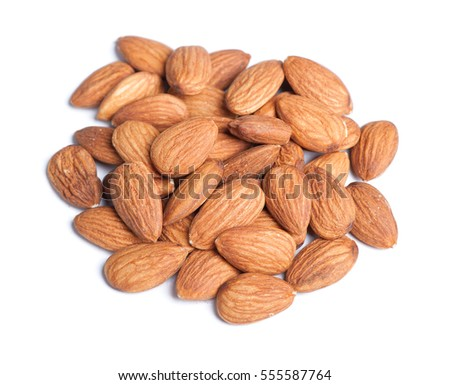 Heap of almonds isolated on white background #555587764