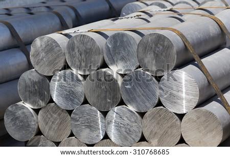heap of aluminium bar, Aluminum ingots in steel factory