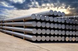 Heap of aluminium bar in aluminum profiles factory