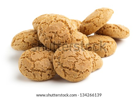 heap of biscuits isolated on white background