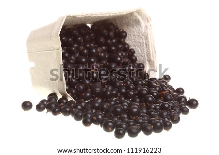 Heap of black currant. isolated box background nature blackcurrant white