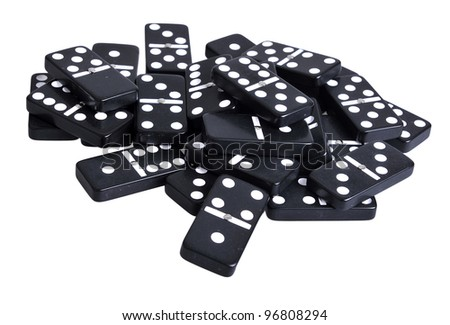 Heap Of Black Domino Tiles. Isolated On White Stock Photo 96808294 ...