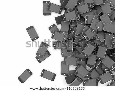 Heap of Black Smart Phones isolated on white background with place for your text