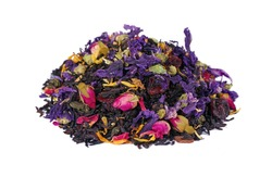 heap of blended tea with dry roses and flower petals isolated on white