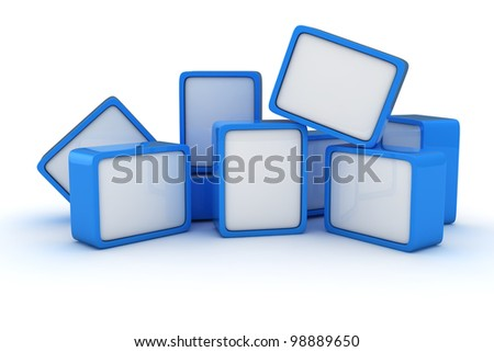 Heap of blue and white cubes on the white background