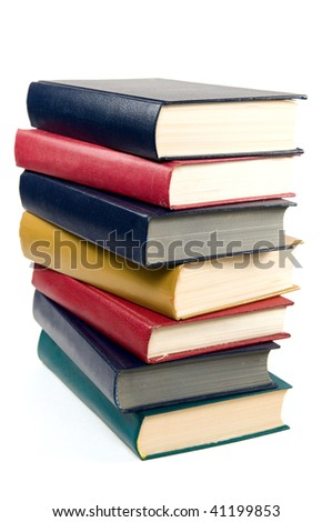 Heap of books of different color it is isolated on a white background