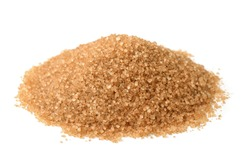 Heap of brown sugar isolated on white