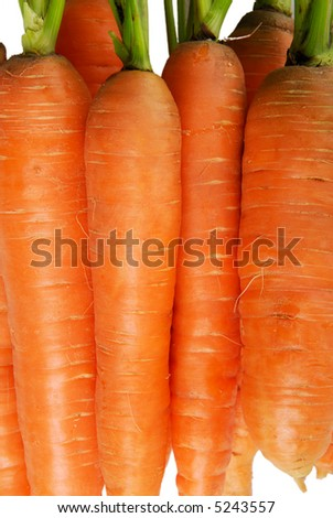 Heap of  carrots isolated on the white background