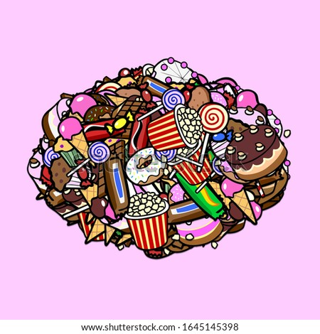 Heap of cartoon sweets and confectionery on a pink background
