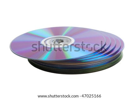 Heap of cd disks isolated over white background