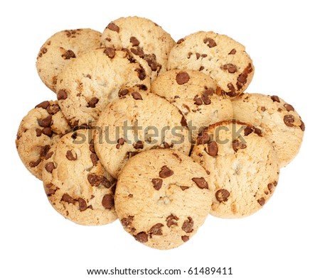 Heap of chocolate chip biscuits isolated over a white background.