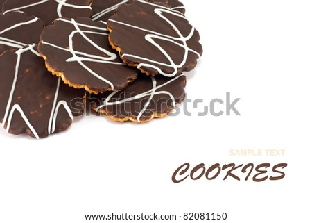 Heap of chocolate cookies as background