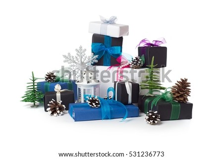 Heap of Christmas presents with decorations, isolated over white #531236773