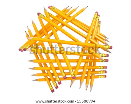 Heap of cloistered pencils with erasers