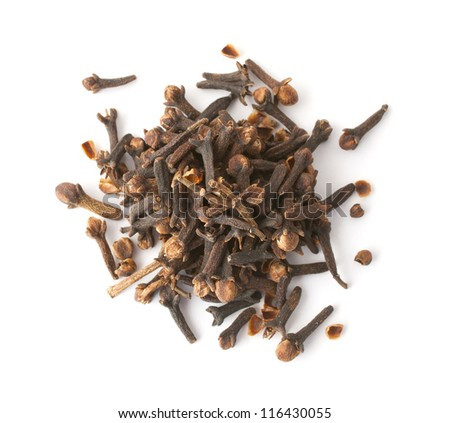 Heap of cloves isolated on white. Top view.
