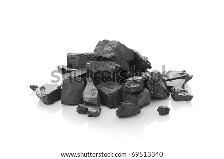 Heap of coal on a white background