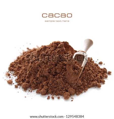 Heap of cocoa powder with wooden scoop isolated on the white background