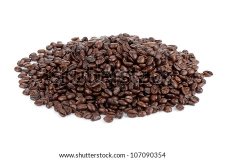 Heap of coffee beans. Isolated on white background