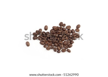 Heap of coffee beans on a white background