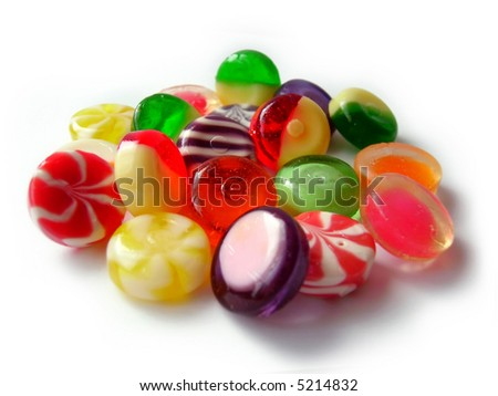 Heap of color sweets isolated on white