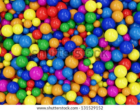 Heap of Colorful Balls Abstract Background. (Animation for this image see in my footage gallery) - stock photo