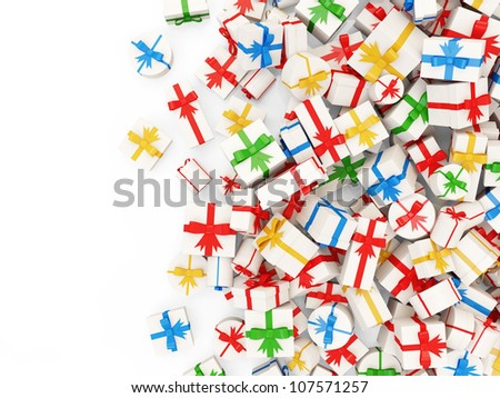 Heap of Colorful Gift Boxes isolated on white background with place for your text