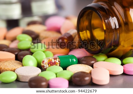 heap of colorful pills. medical background