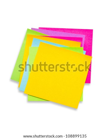 Heap of colorful sticky notes isolated on white background.